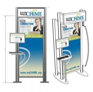 Pre-show mockup of myCHIME kiosk